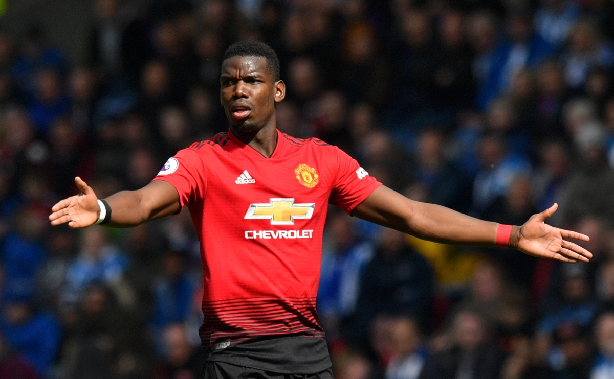 Manchester United's Paul Pogba reacts during the Premier League match at the John Smith's Stadium, Huddersfield.