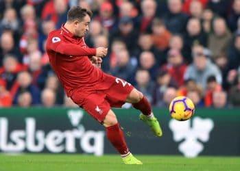 Liverpool's Xherdan Shaqiri during the Premier League match at Anfield, Liverpool.