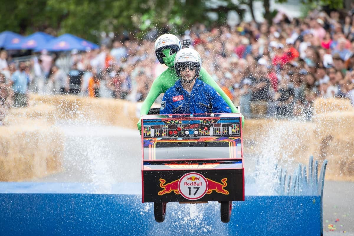 A competitor takes part in the Red Bull Soapbox Race in Alexandra Park, London (Dominic Lipinski/PA)