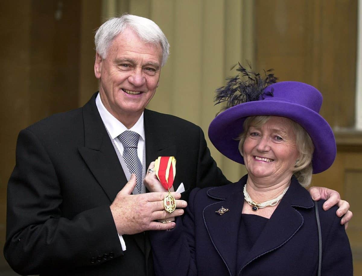 Newcastle United football manager Sir Bobby Robson, the man who masterminded England to the semi-finals in the 1990 World Cup, at Buckingham Palace after he was knighted by the Prince of Wales.   *  With him at the Palace were his wife, Elsie (right) and two of the couple's three sons, Andrew, 41, and Paul, 44. Also being honoured was author Sebastian Faulks, most famous for his First World War novel, Birdsong.