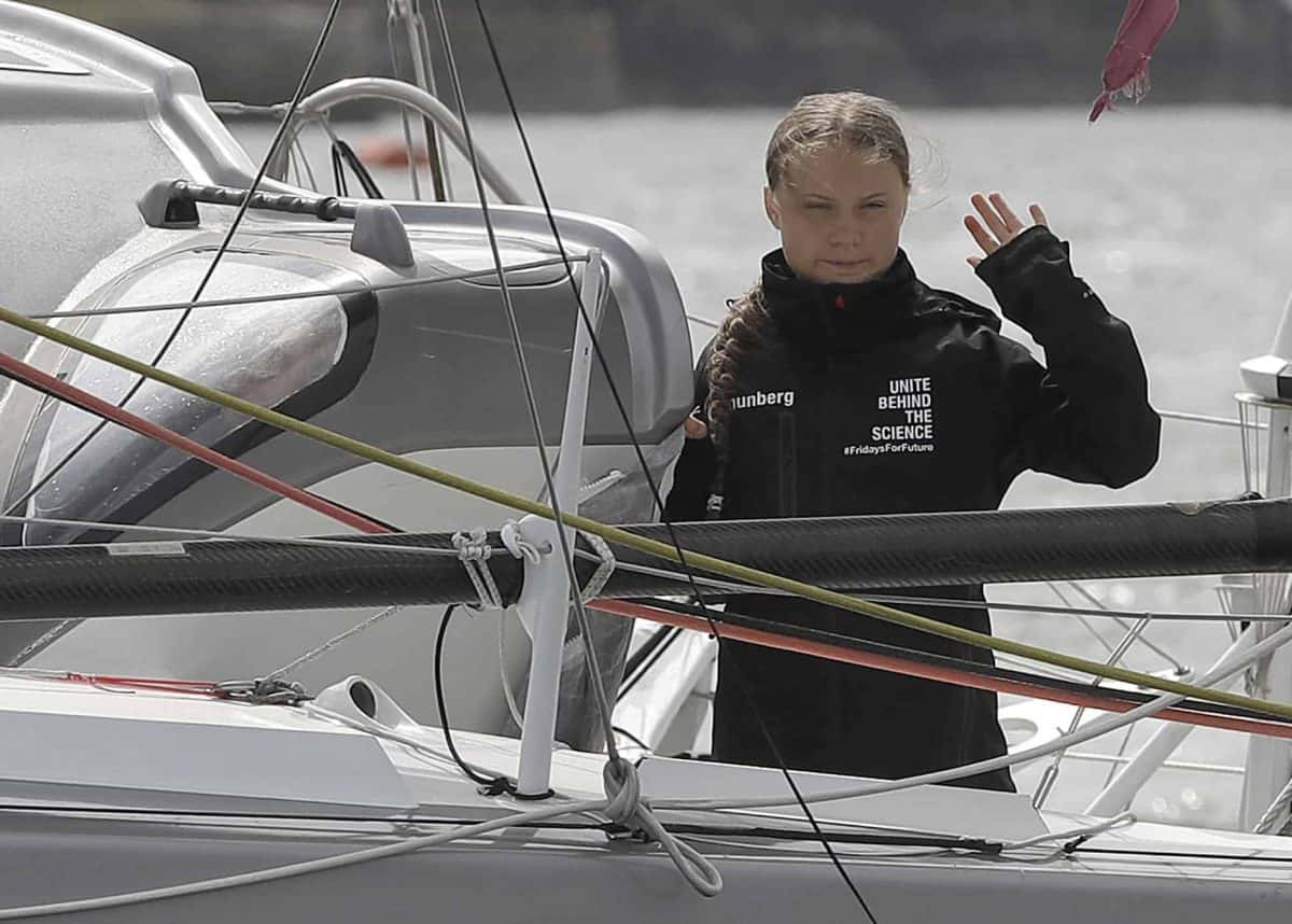Climate activist Greta Thunberg begins her voyage to the US from Plymouth on the Malizia II, to attend climate demonstrations in the country on September 20 and 27 and speak at the United Nations Climate Action Summit.
