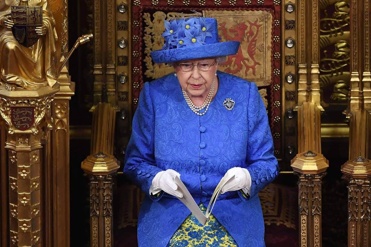 Queen Elizabeth II reading the Queen's Speech in the House of Lords for the State Opening of Parliament by Queen Elizabeth II, in the House of Lords at the Palace of Westminster in London.