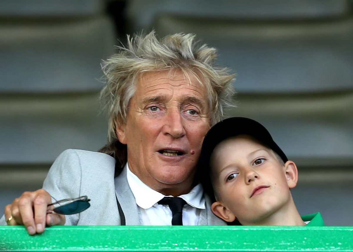 Rod Stewart in the stands with son Aiden during the UEFA Champions League third qualifying round second leg match at Celtic Park, Glasgow.