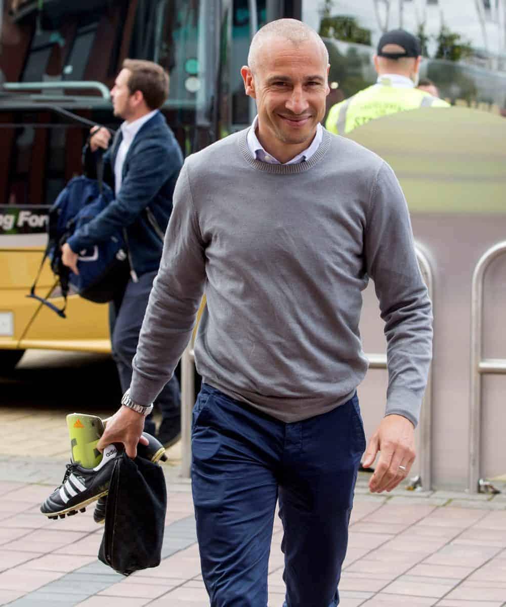 Henrik Larsson arrives for the charity match at Celtic Park, Glasgow.