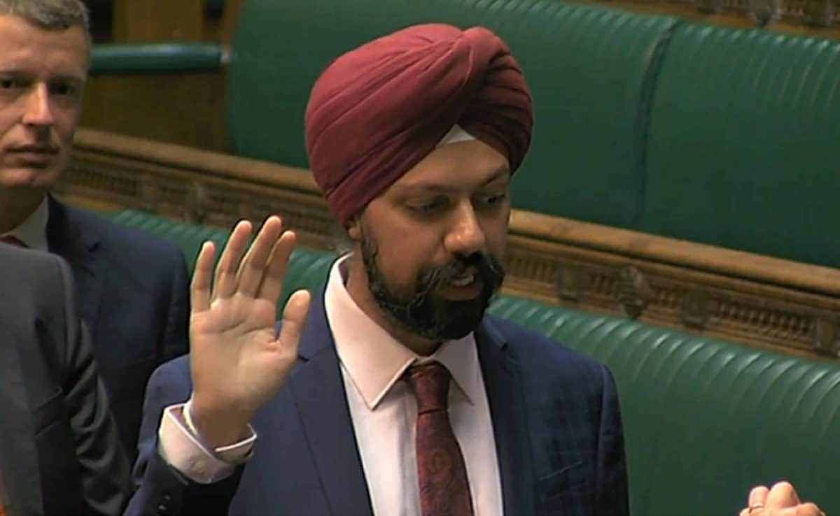 Labour's Tan Dhesi is affirmed in the House of Commons, London, as he became the first turban-wearing Sikh MP.