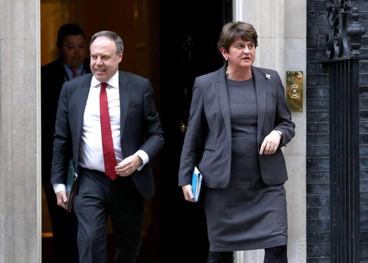 DUP Nigel Dodds and Arlene Foster leave Number 10