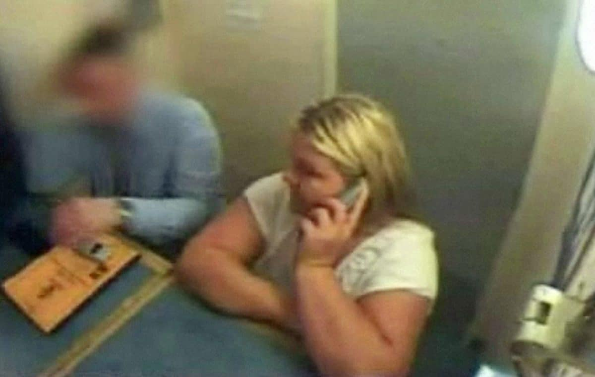 CCTv footage of Vanessa George on the phone to her lawyer while in police custody in Plymouth.