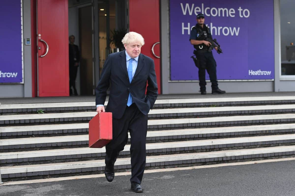 Johnson travelling airport Heathrow