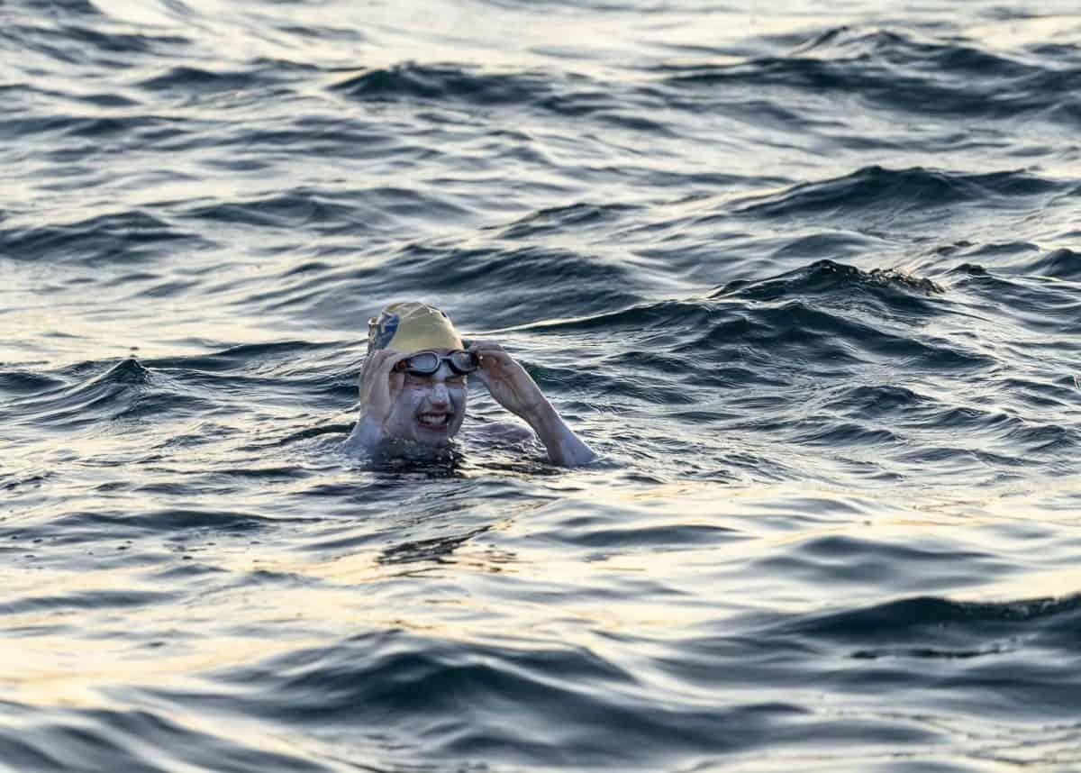 photo courtesy of Jon Washer of American swimmer Sarah  Thomas, 37.