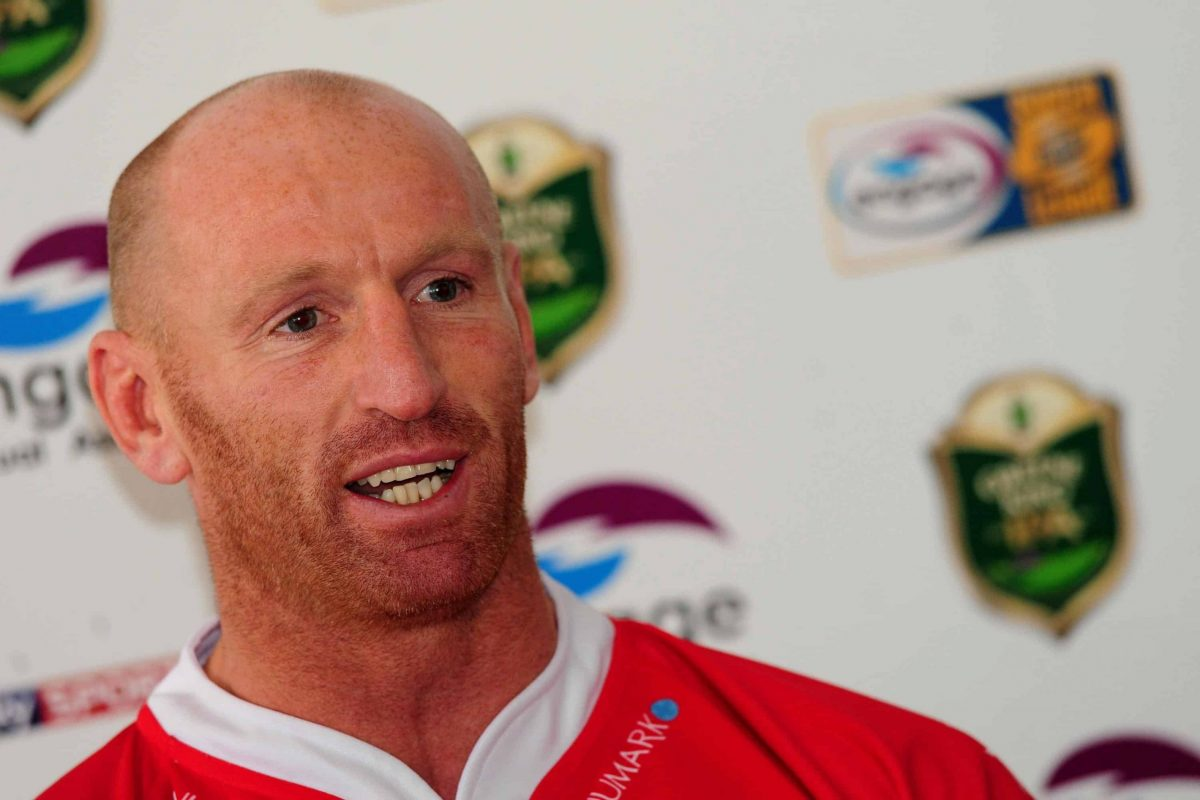 Celtic Crusaders new signing Gareth Thomas during the press conference at The Racecourse Ground, Wrexham.