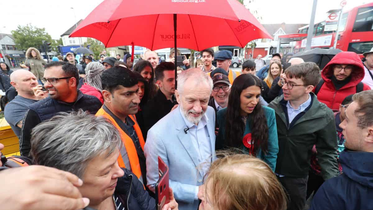 Jeremy Corbyn at a packed rally with popular local economist Faiza Shaheen in Chingford where she hopes to unseat Iain Duncan Smith (PA)