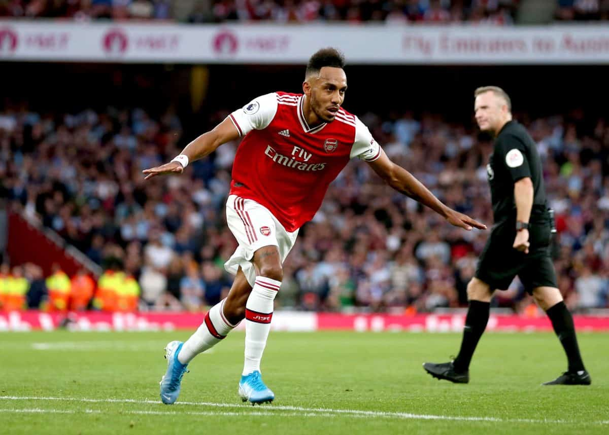 Arsenal's Pierre-Emerick Aubameyang celebrates scoring his side's third goal of the game during the Premier League match at the Emirates Stadium, London.