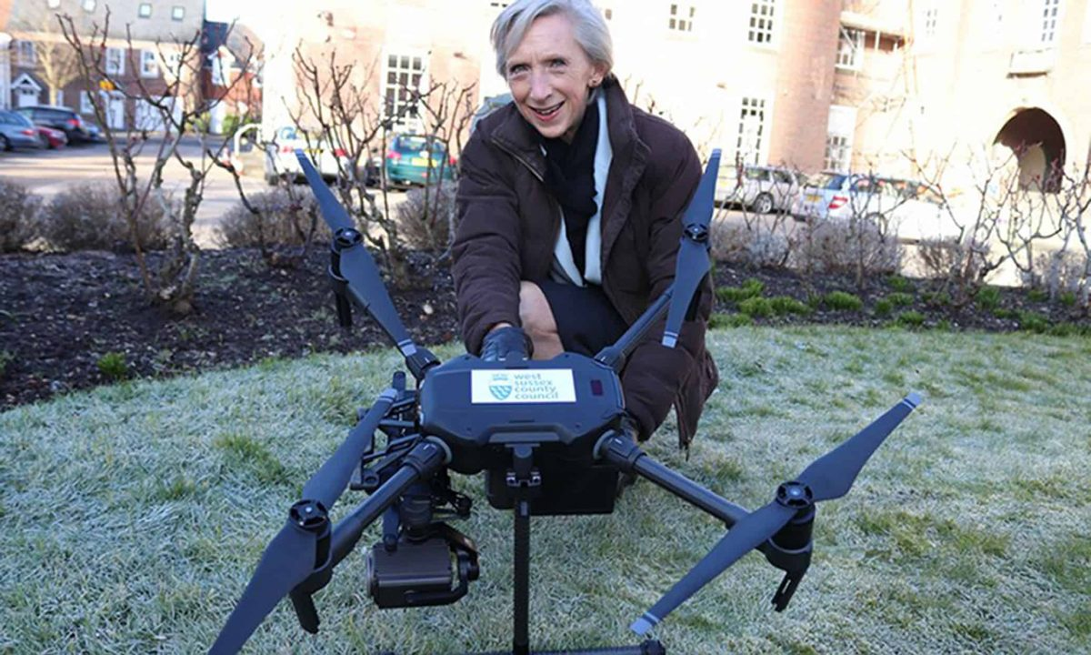 West Sussex County Council undated handout photo of their then leader Louise Goldsmith in February 2018 with the council's new drone which has cost the county council nearly £36,000 and has not flown operationally a single time since it was purchased a year and a half ago.