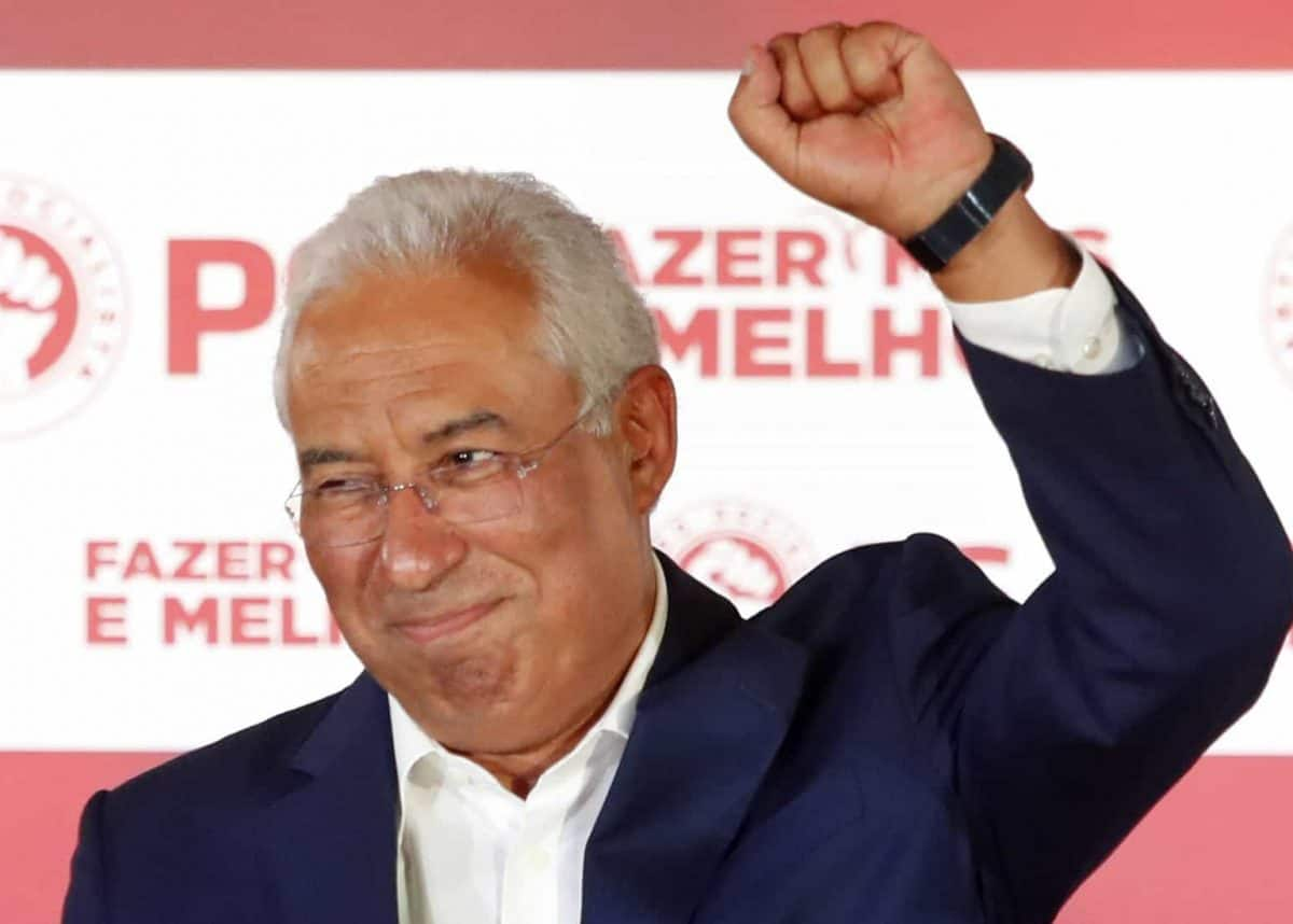 Portuguese Prime Minister and Socialist Party leader Antonio Costa celebrates after wining the Portugal election, in Lisbon Sunday night, Oct. 6, 2019. Portugal's center-left Socialist Party has collected the most votes in Sunday's general election, leaving it poised to continue in government for another four years. (AP Photo/Armando Franca)