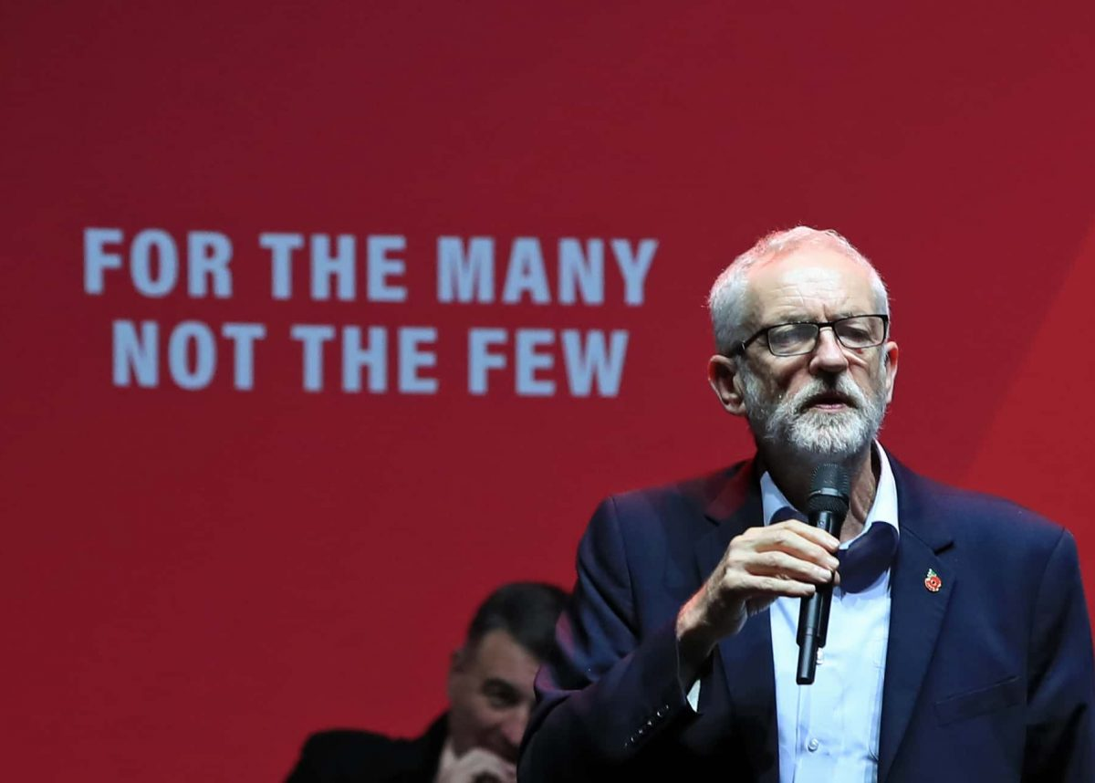Labour leader Jeremy Corbyn addresses a Labour rally at the o2 Academy in Manchester, while on the General Election campaign trail.