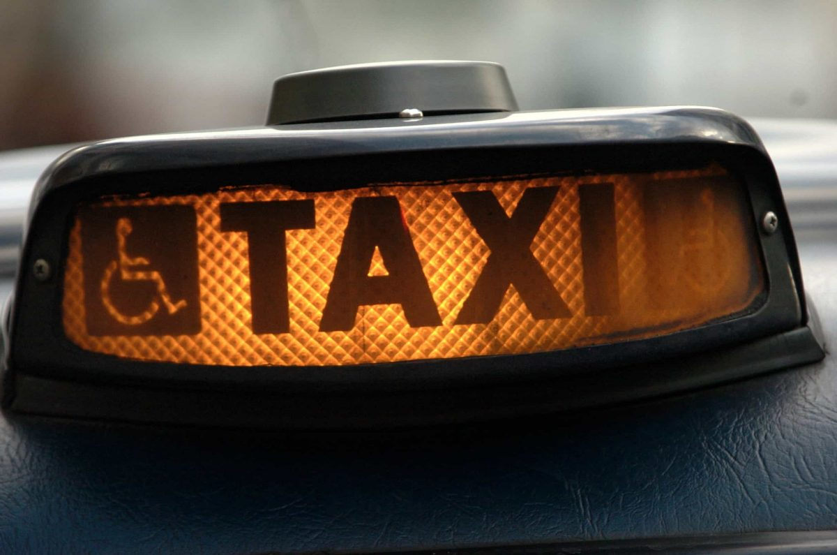 Sign on a London taxi in Victoria.Credit;PA