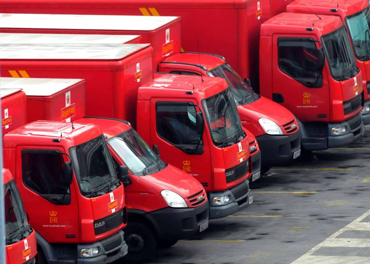 Postal vans at the Royal Mail Mount Pleasant Sorting Office, in Clerkenwell, London. Credit;PA