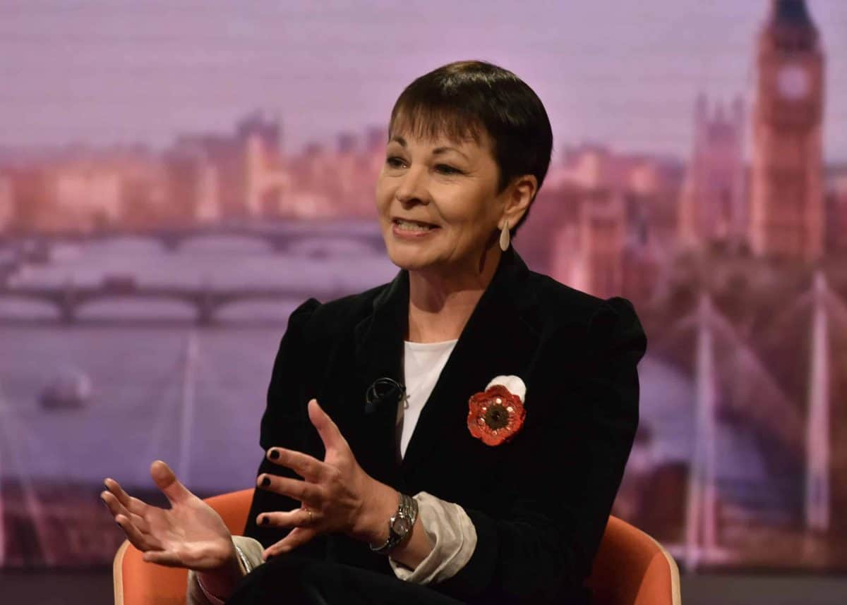 Caroline Lucas appearing on the BBC1 current affairs programme, The Andrew Marr Show.