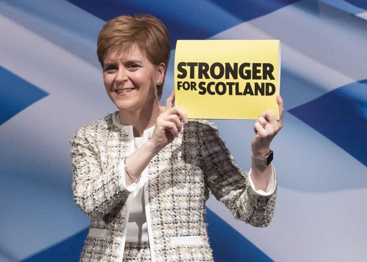 First Minister Nicola Sturgeon at the SNP general election manifesto launch at SWG3, Glasgow, during the General Election campaign. PA Photo. Picture date: Wednesday November 27, 2019. See PA story POLITICS Election. Photo credit should read: Jane Barlow/PA Wire