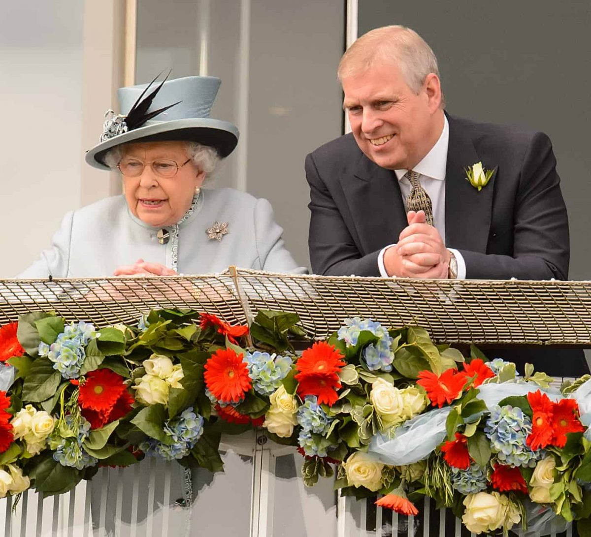 Queen Elizabeth II and the Duke of York during the Investec Derby Day at Epsom Downs Racecourse, Surrey.