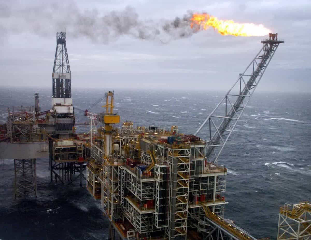 The Buzzard oil field in the North Sea, 50 miles from Aberdeen's coastline, which was visited by Britain's Prime Minister Tony Blair today.