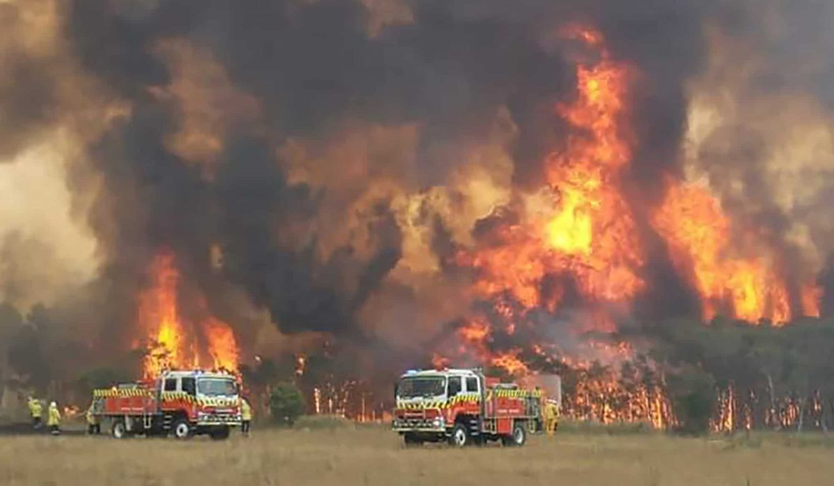 In this image dated Dec. 30, 2019, and provided by NSW Rural Fire Service via their twitter account, firefighters are seen as they try to protect homes around Charmhaven, New South Wales. Wildfires burning across Australia's two most-populous states Tuesday trapped residents of a seaside town in apocalyptic conditions, destroyed many properties and caused fatalities. (Twitter@NSWRFS via AP)