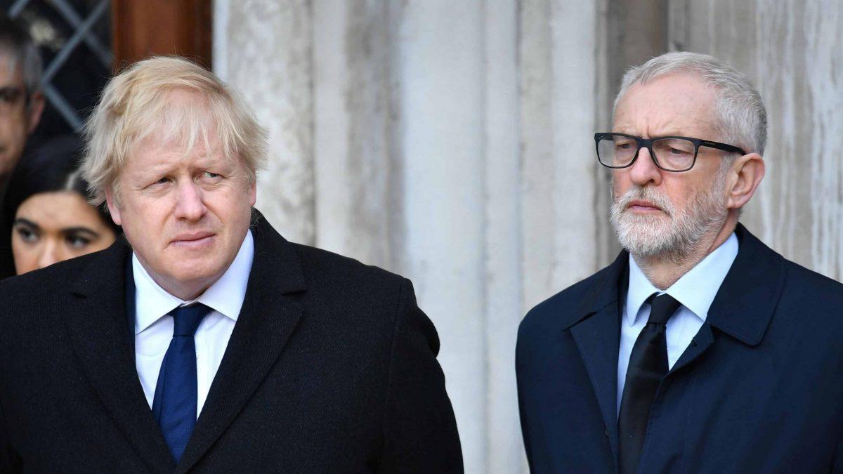 Boris Johnson and Jeremy Corbyn at London Bridge vigil (PA)