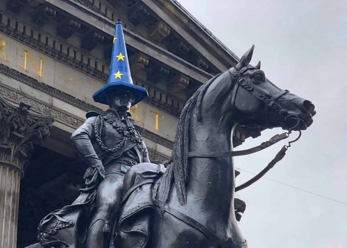 A cone covered with an EU flag on the Duke of Wellington statue in Glasgow. Credit;PA