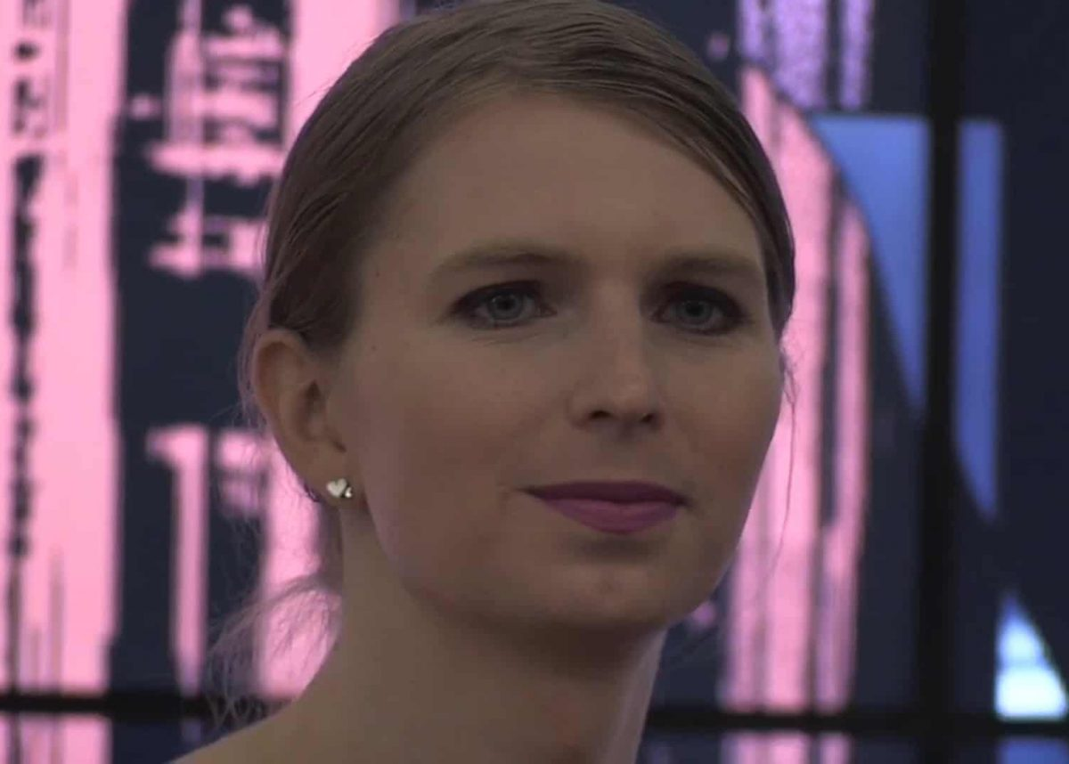 Whistleblower Chelsea Manning making her first UK public appearance at the Royal Institute in central London, where she said she sees a lot of similarities between prison and the modern world.