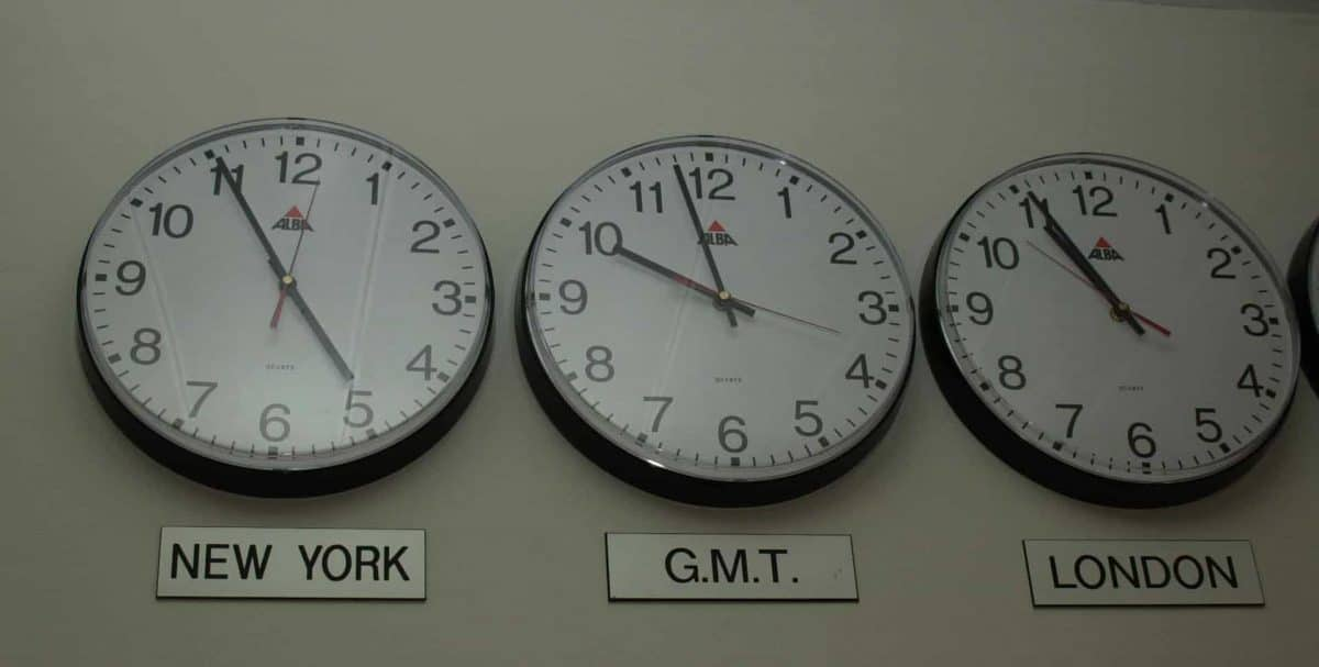 A row of clocks showing the time in different time zones such as New York and London.