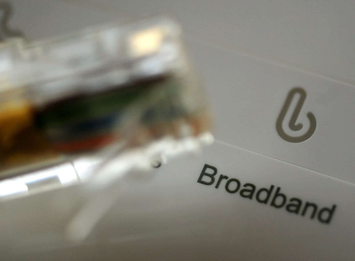 Broadband cable and router.