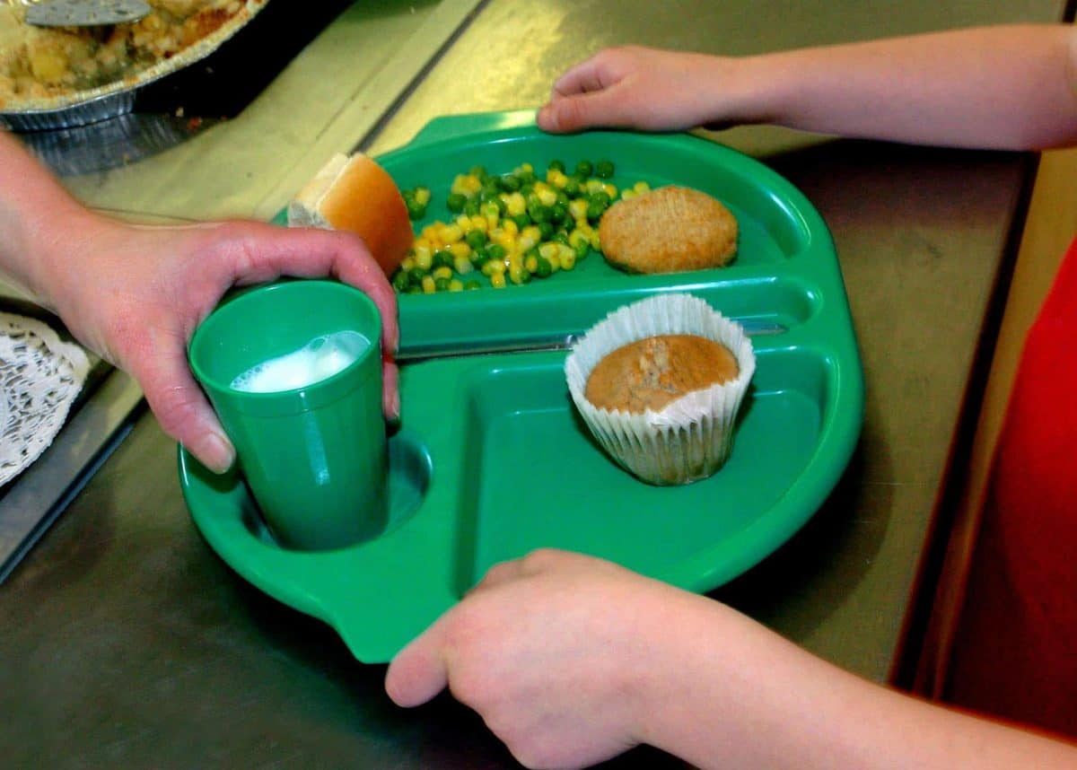 File photo dated 28/08/09 of a school meal being served as around 900,000 children from low-income families will lose their right to free school meals under proposals unveiled in the Conservative manifesto, an educational think tank has warned.