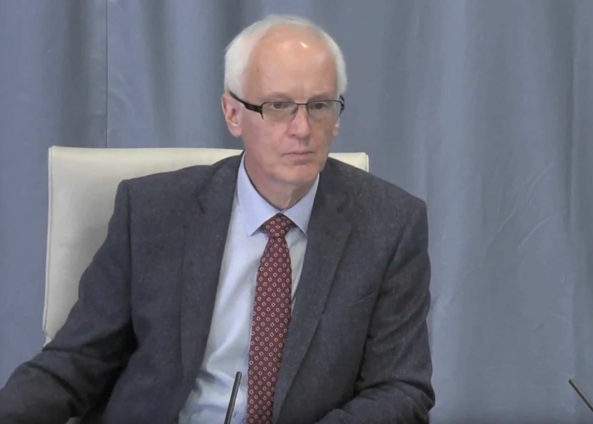 Screengrab taken from the Infected Blood Inquiry of Sir Brian Langstaff, Infected Blood Inquiry chair, hearing evidence to the inquiry at the Edinburgh International Conference Centre.