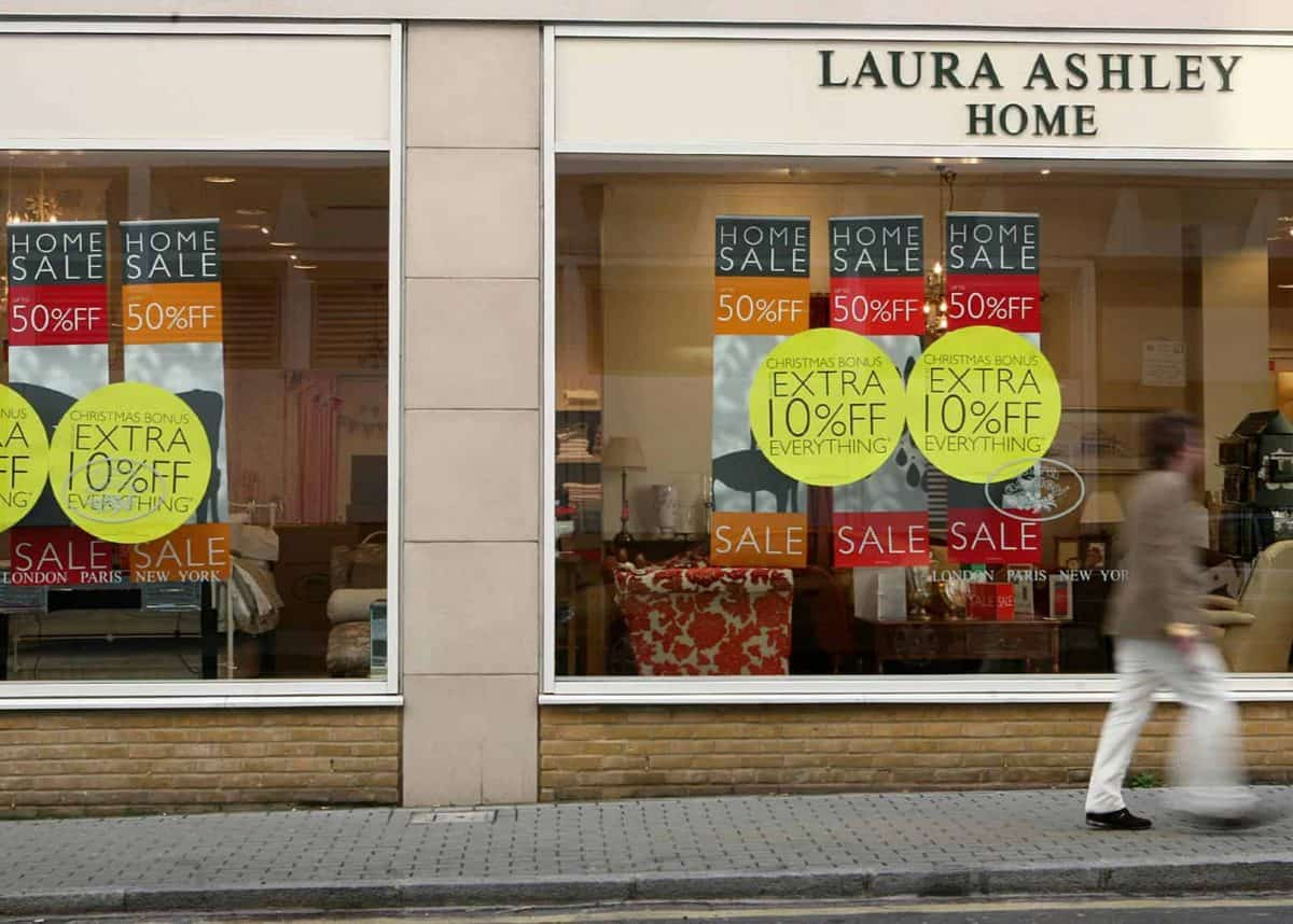A general view of a Laura Ashley store in South West London as the home furnishings and fashion retailer today said UK like-for-like sales were down almost 10% in the tough trading climate.