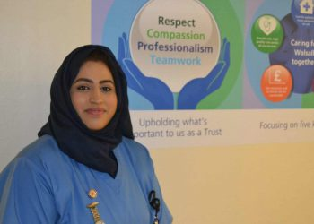 Handout picture of Walsall Manor Hospital nurse Areema Nasreen, who is on a ventilator in intensive care after contracting coronavirus. The picture of the mother-of-three was originally issued on February 15, 2019, shortly after she qualified as a nurse and began working on the hospital's Acute Medical Unit.