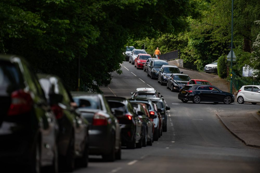 Cars queue to get into the Birmingham City Council Tip on Lifford Lane, Birmingham, May 7 2020 Credit;SWNS