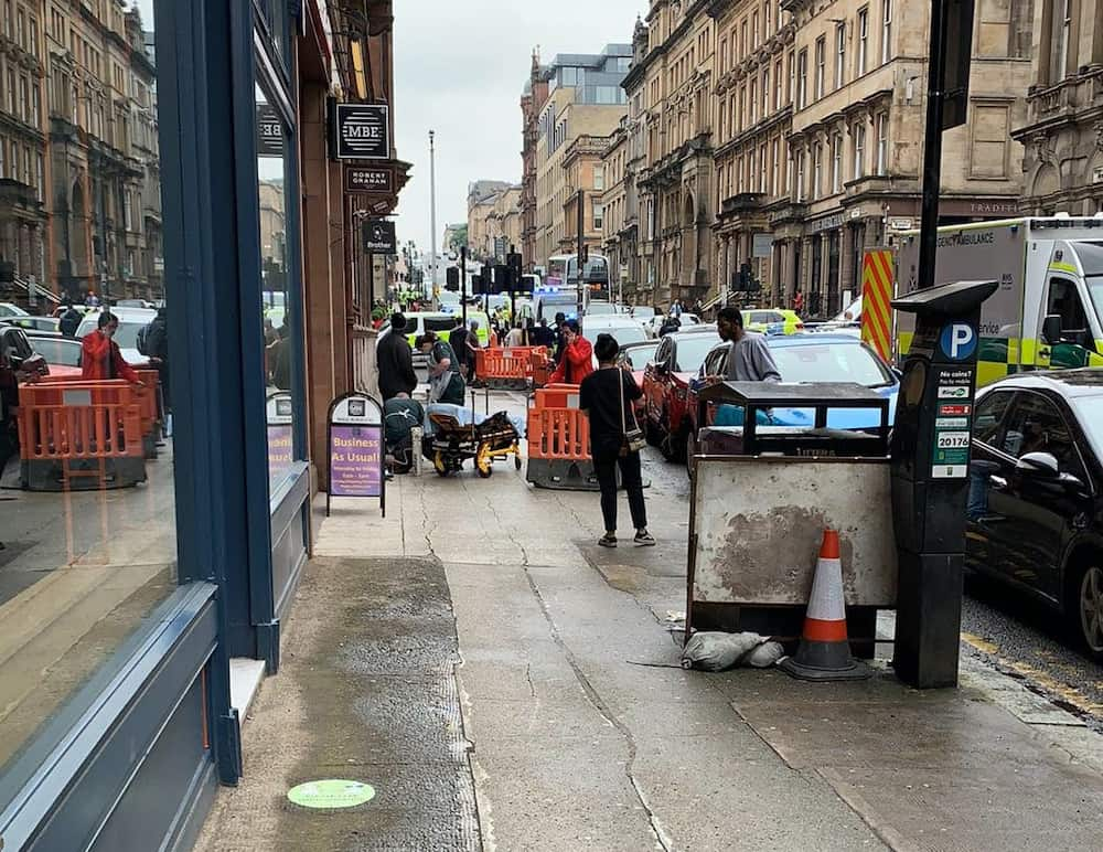 Photo taken with permission from the Twitter feed of @Milroy1717 of emergency services presence in West George Street, Glasgow, as a serious police incident has closed roads in the city centre.