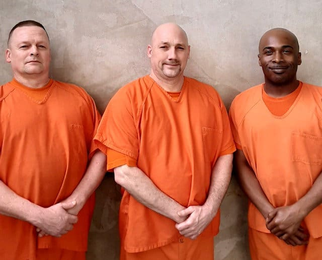 Three inmates who helped save Deputy Hobb, Prisoners Terry Loveless, Walter Whitehead and Mitchell Smalls. Credit;SWNS
