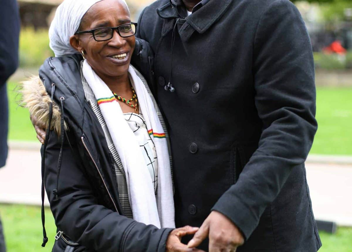 Members of the Windrush generation Paulette Wilson, 62, who arrived from Jamaica in 1968, and Anthony Bryan, aged 60, who arrived from Jamaica in 1965, during a photocall in Westminster, London, following a personal apology from immigration minister Caroline Nokes this afternoon, as they visited Parliament for the first time since the scandal forced the home secretary to resign.