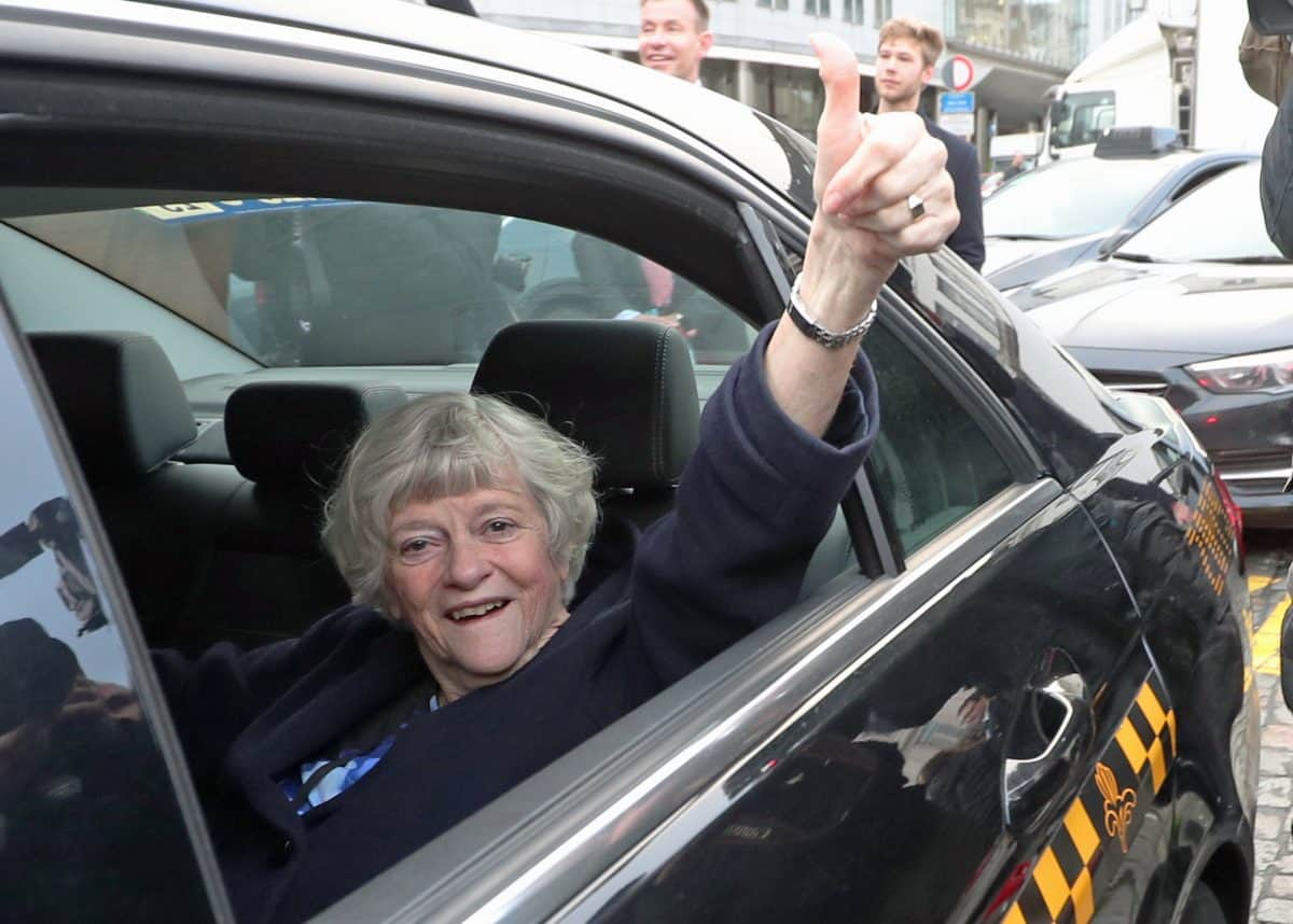 Ann Widdecombe, Member of the European Parliament (MEP) for South West England, reacts as she leaves in a taxi from the European Parliament in Brussels, Belgium, ahead of the UK leaving the European Union at 11pm on Friday.