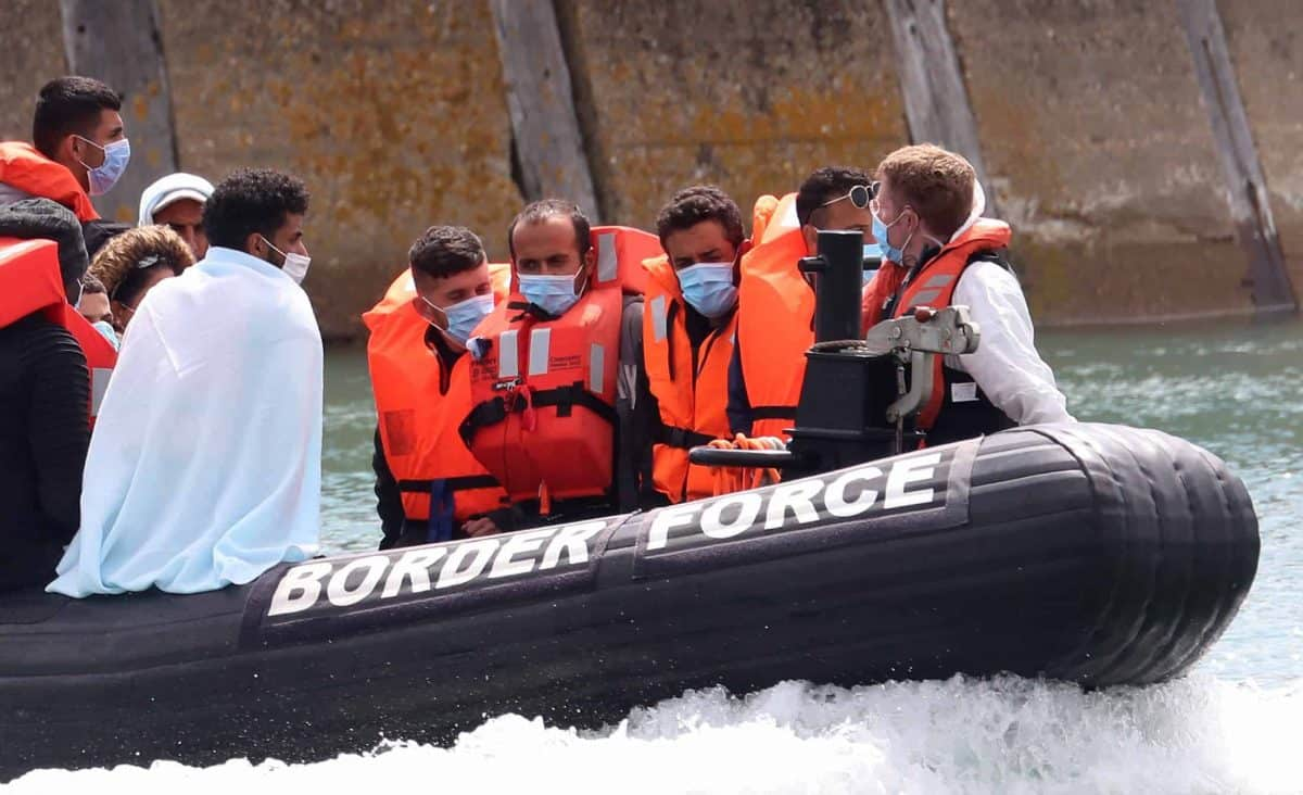 A Border Force vessel brings a group of men thought to be migrants into Dover, Kent, following a number of small boat incidents in The Channel earlier this morning.