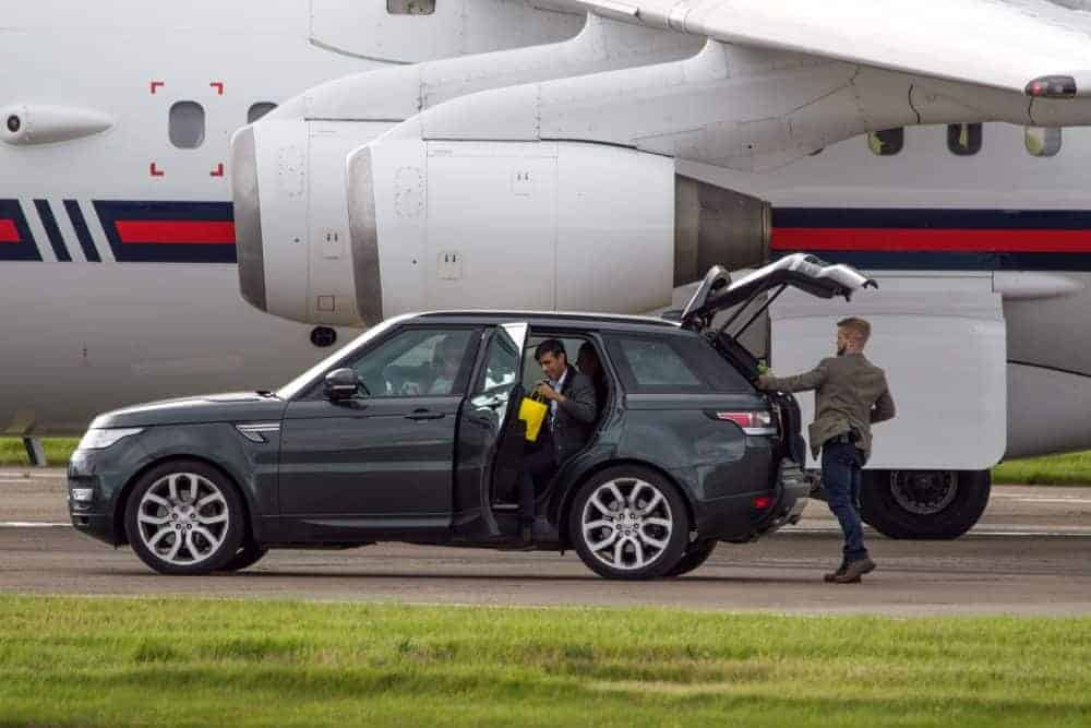 Rishi Sunak MP departs on a private jet plane after visiting Scotland. Credit SWNS