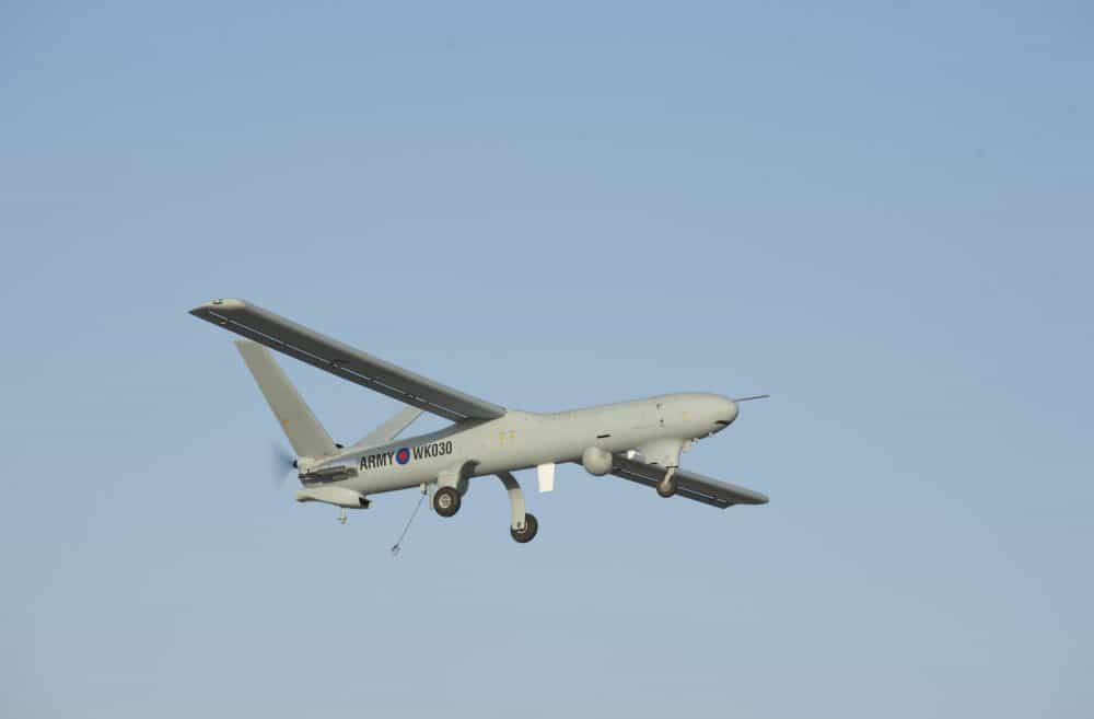 Undated MoD handout photo of a Watchkeeper unmanned aerial vehicle (UAV) at Camp Bastion, Helmand, Afghanistan.