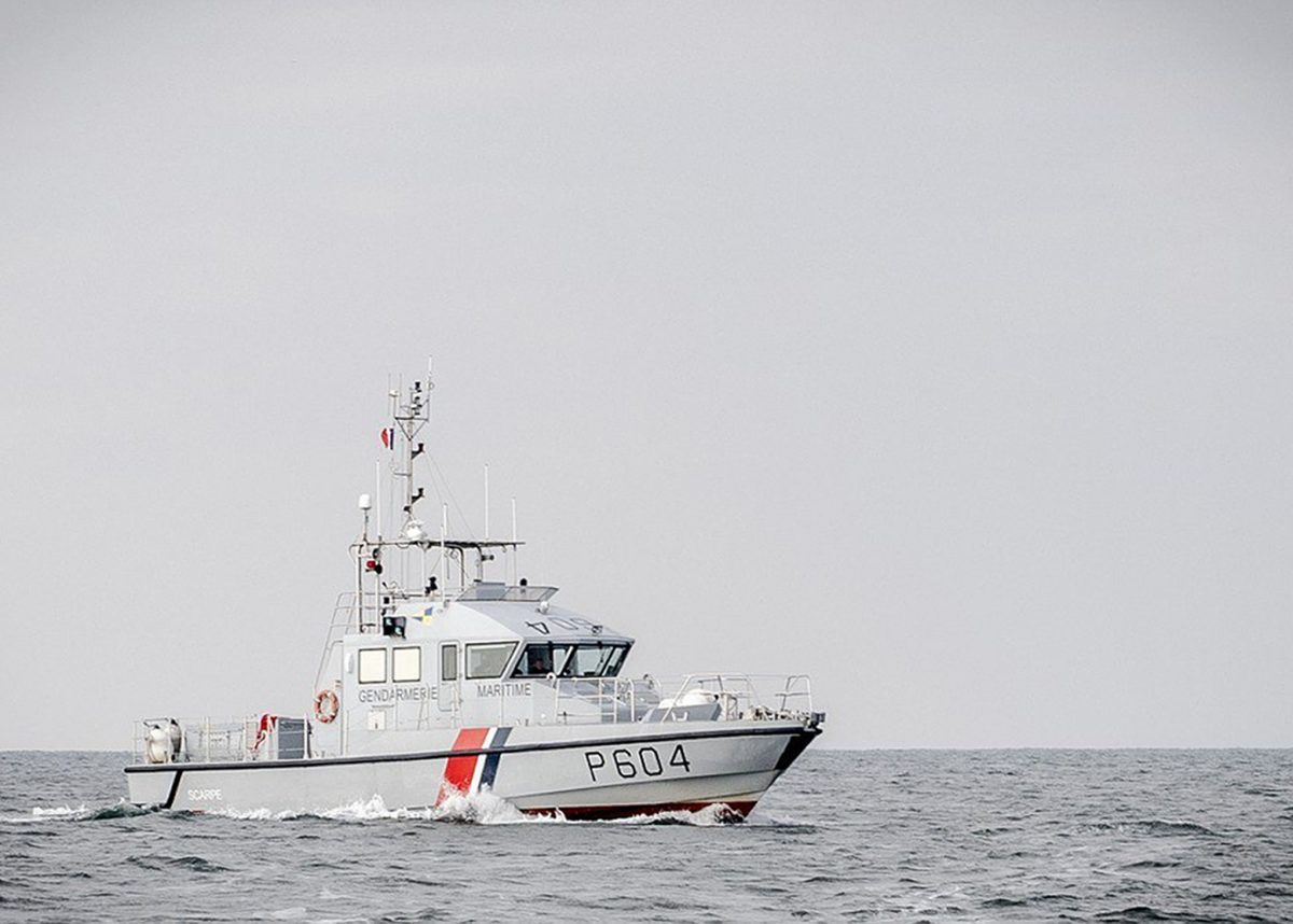 Undated handout photo issued by Marine Nationale of a French patrol boat as more migrants were picked up by French authorities in the English Channel on Friday.