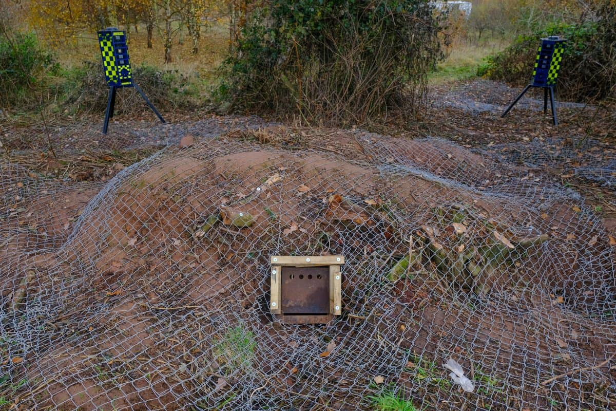 The badger sett covered with netting: Credit;SWNS