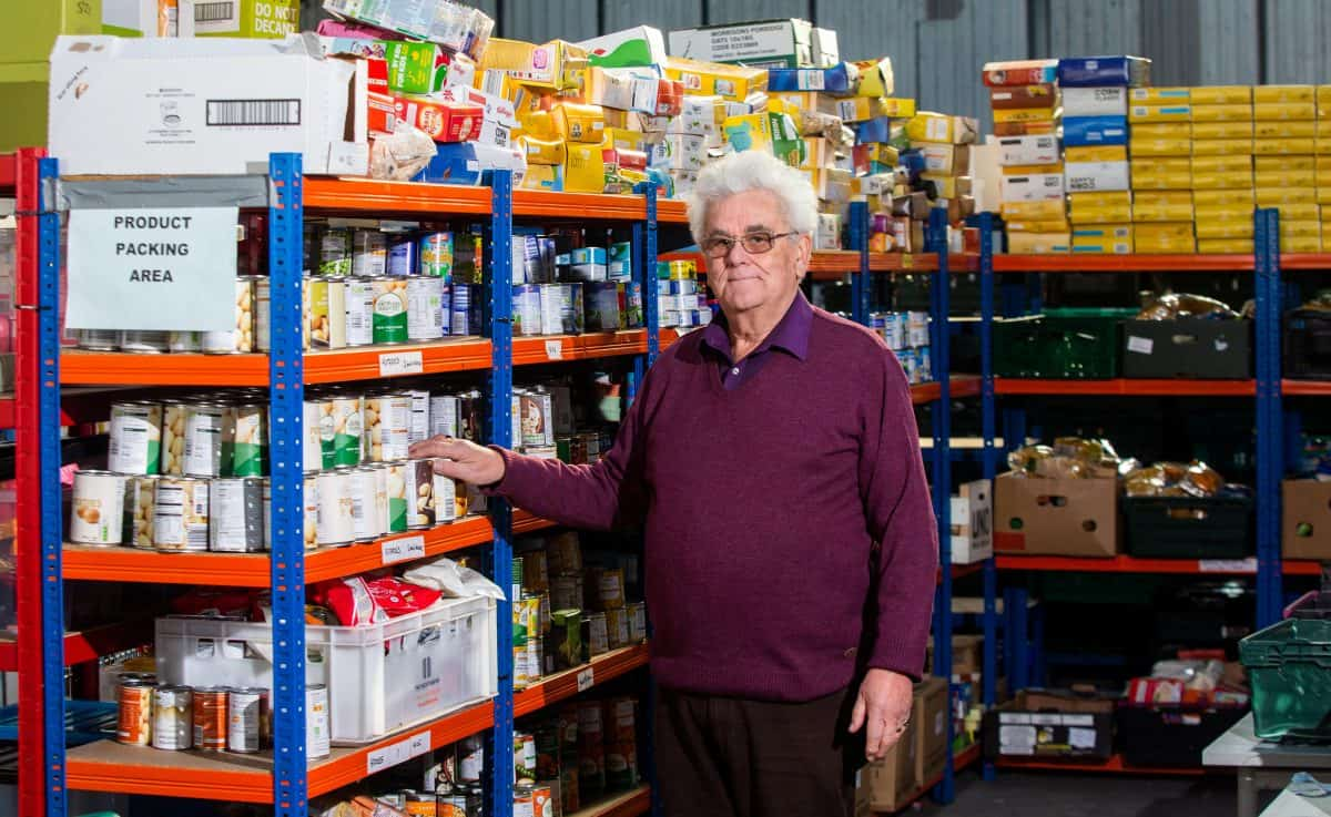 Don Gardner from Transformation CPR Foodbank at the community group's warehouse in Pool, Cornwall. Credit;SWNS