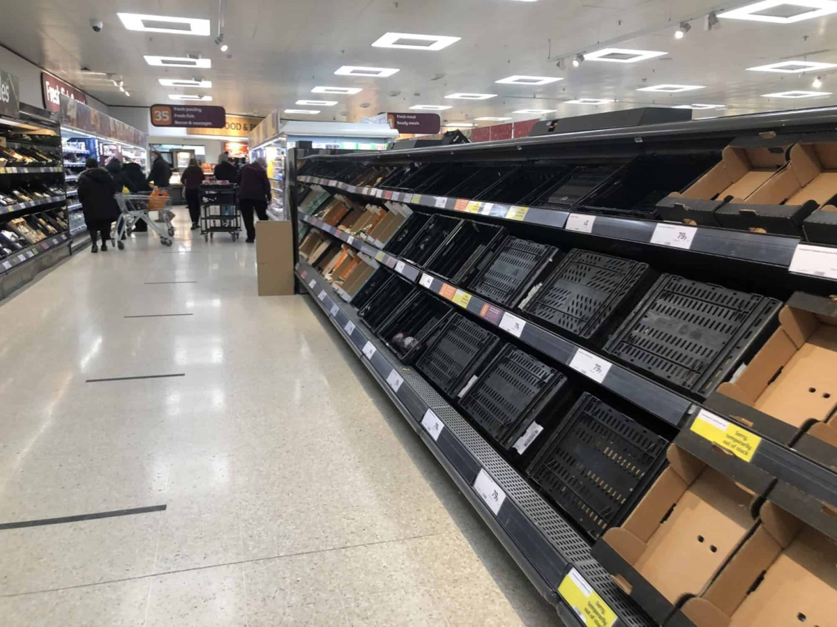 Depleted shelves in Sainsbury's at the Forestside shopping centre in Belfast. Credit;PA