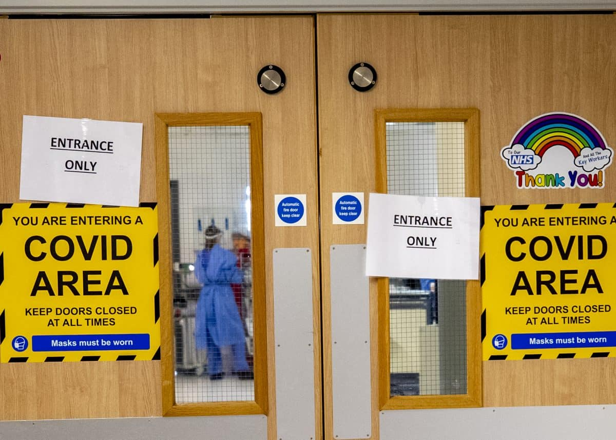 The entrance to one of five Covid-19 wards at Whiston Hospital in Merseyside where patients are taken to recover from the virus.