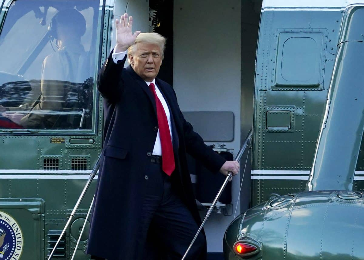 President Donald Trump waves as he boards Marine One on the South Lawn of the White House, Wednesday, Jan. 20, 2021, in Washington. Trump is en route to his Mar-a-Lago Florida Resort. (AP Photo/Alex Brandon)
