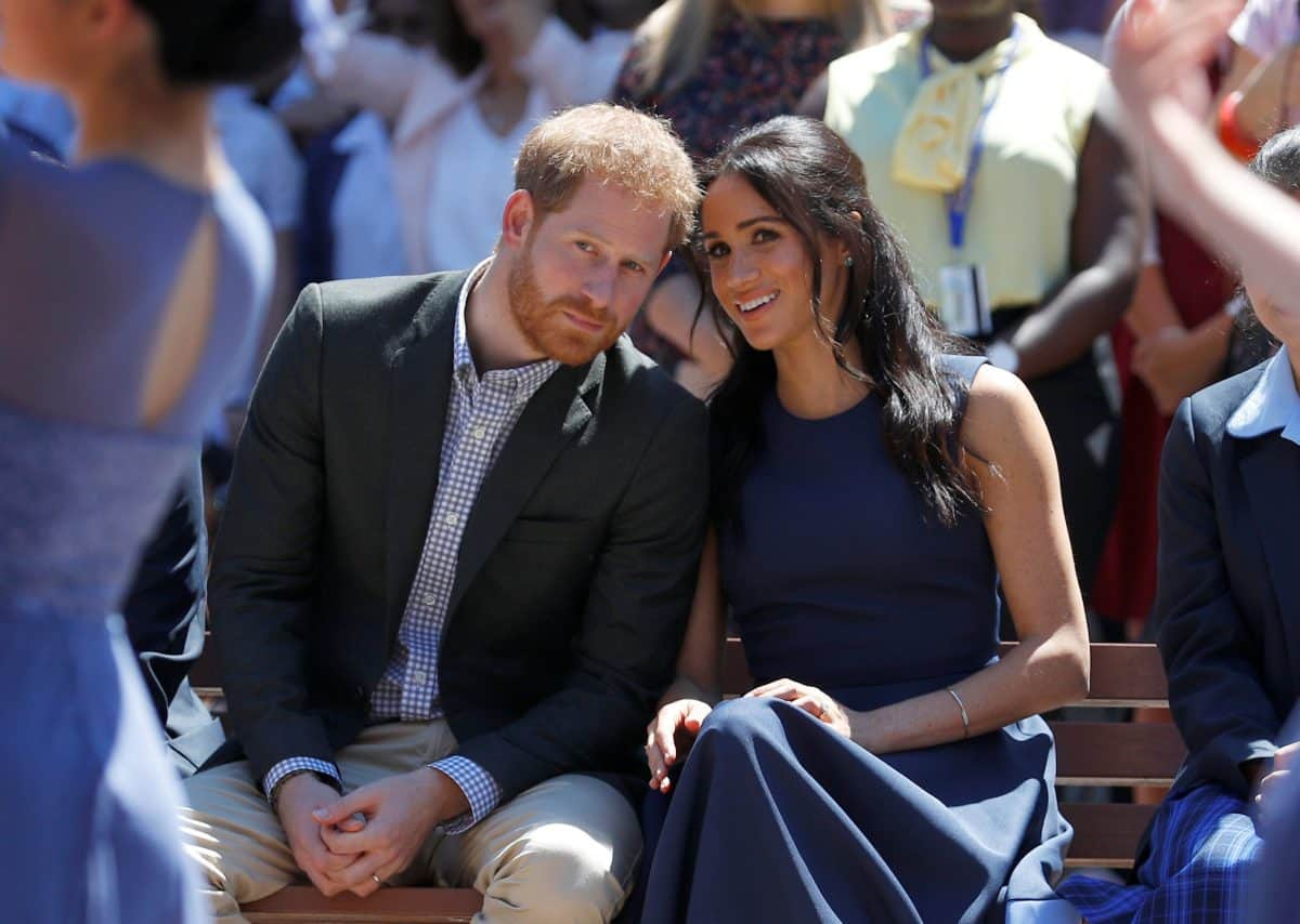 The Duke and Duchess of Sussex watch a performance during their visit to Macarthur Girls High School in Sydney on the fourth day of their visit to Australia.